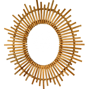 Espejo ovalado de bambú